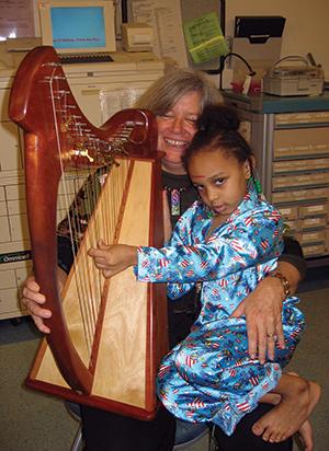Cathy on the harp